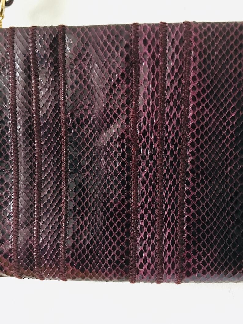 Small CLEMENTE 1980s Purple Snakeskin Clutch Deep Purple