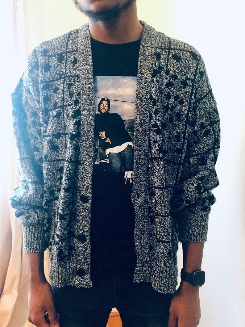 Vintage MICHAEL GERALD abstract knit cardigan sweater Size Medium