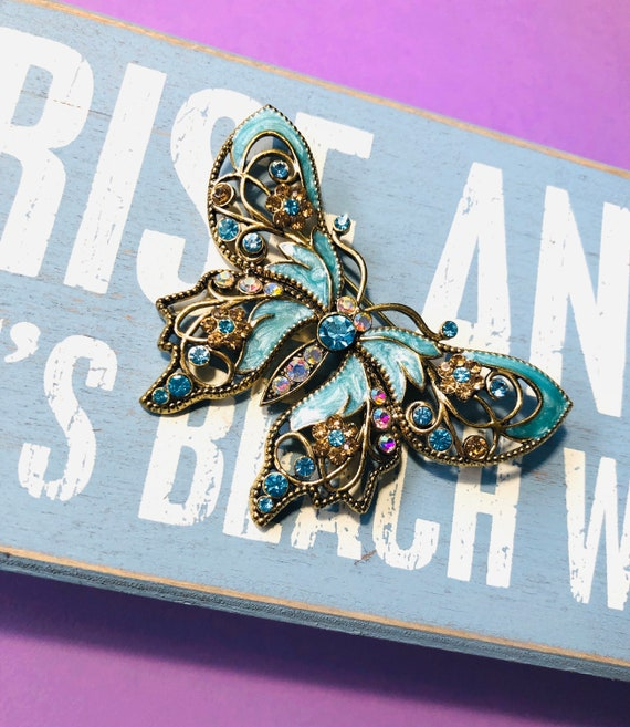 Vintage Huge Butterfly Enameled Brooch with multi