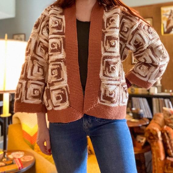 Vintage Crochet Cardigan / 1970s Cardigan / Granny