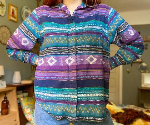 Vintage Button-Down Shirt / 1990s Top / Vintage Wo