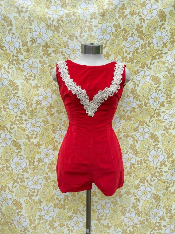 Vintage Jumpsuit / Velvet Romper / 1960s Dance Cos