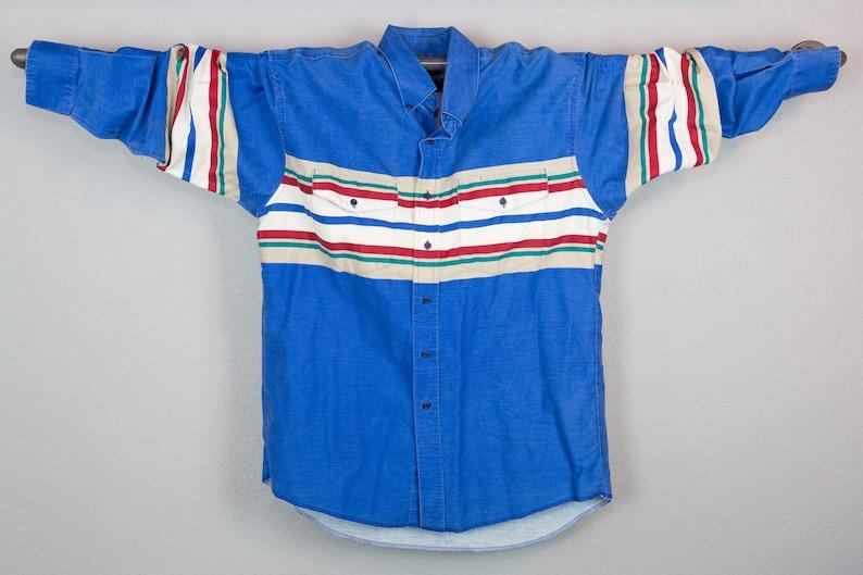 Retro Striped Western Shirt Vintage Wrangler Western Multicolor Stripe Button Up Shirt Vintage Wrangler Western Shirt Large
