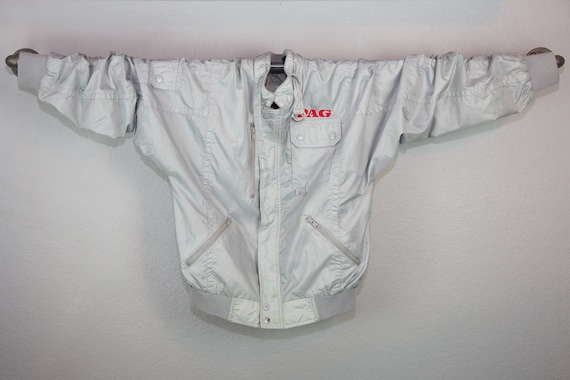 Vintage 80s Gray Racing Jacket Windbreaker, Retro