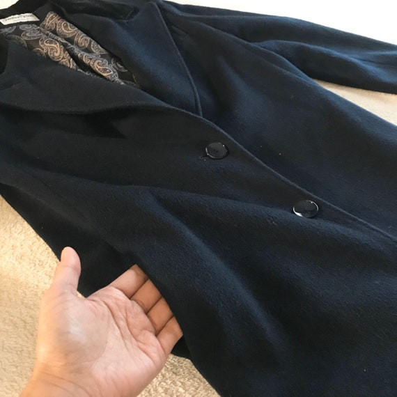 Jonathan Michael Wool Coat / Trench Coat Navy Blue - image 9