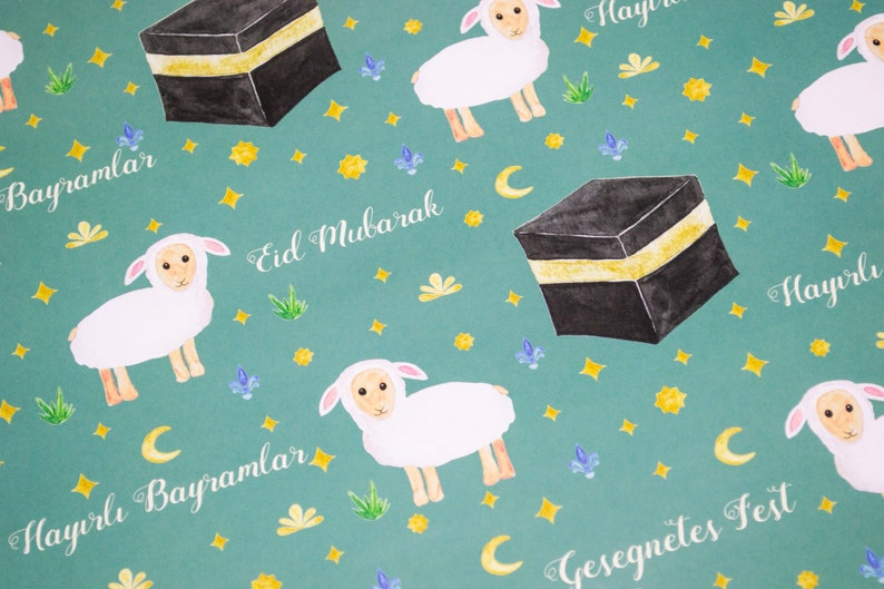 Wrapping Paper Sheep /& Kaaba