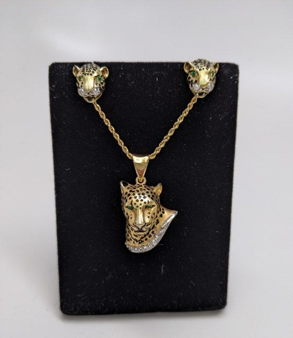 Cheetah Pendant and Earring Set