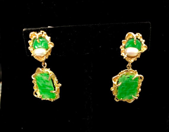 Carved Jade Clip on Dangle Earrings