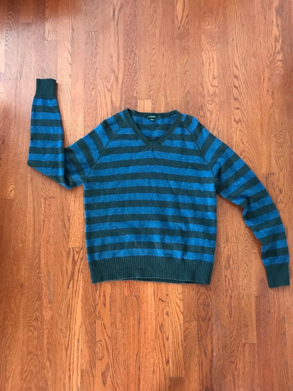 Vintage 90s J.Crew blue and dark green striped 100% lambs wool V neck pullover long sleeve sweater size medium