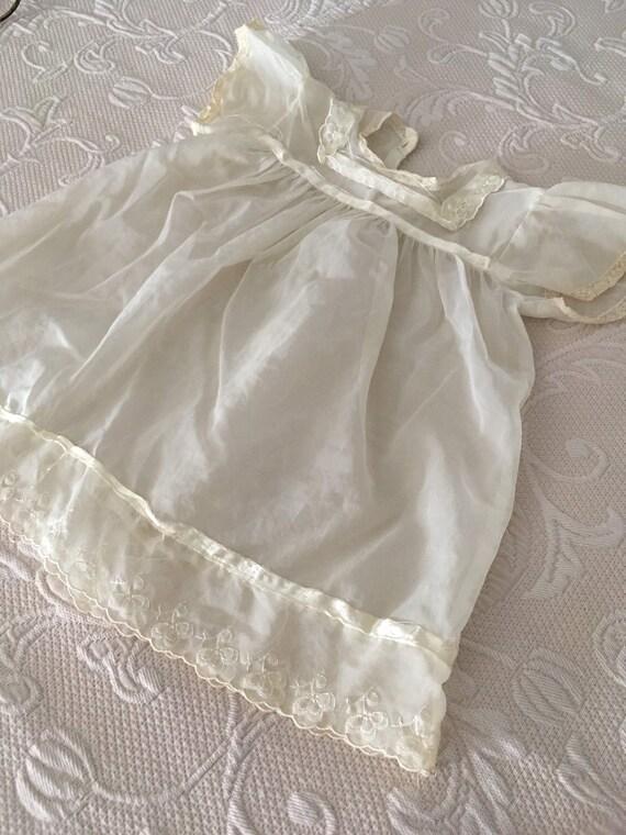 Vintage 1950s White Chiffon Handmade Baby dress - image 5
