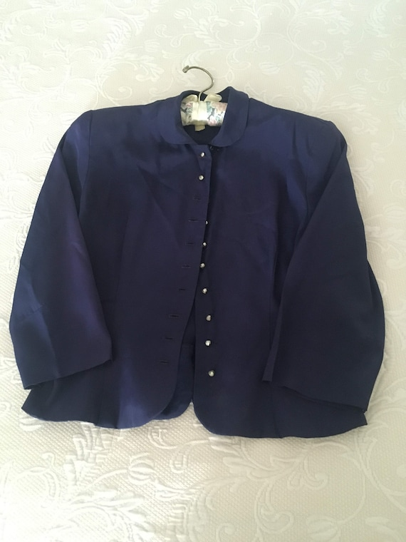 Vintage 1940s Navy Suit jacket with Rhinestone but