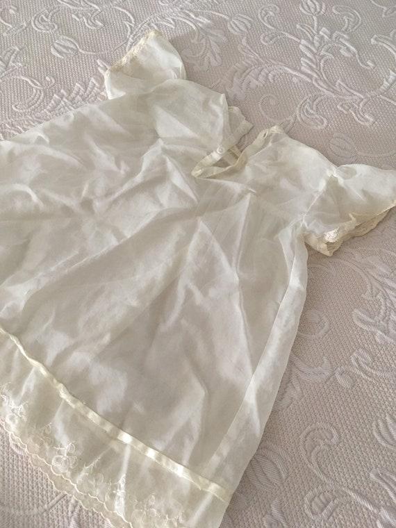 Vintage 1950s White Chiffon Handmade Baby dress - image 7