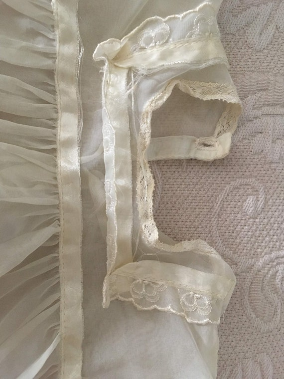 Vintage 1950s White Chiffon Handmade Baby dress - image 3