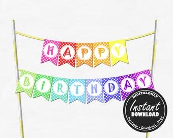 Fantastic Happy Birthday Cake Topper Printable Etsy Funny Birthday Cards Online Necthendildamsfinfo
