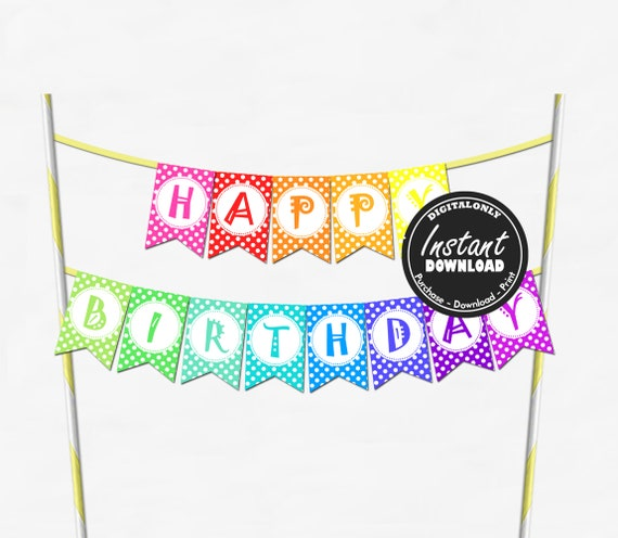 Birthday Cake Bunting Instant Download Birthday Cake Topper Etsy