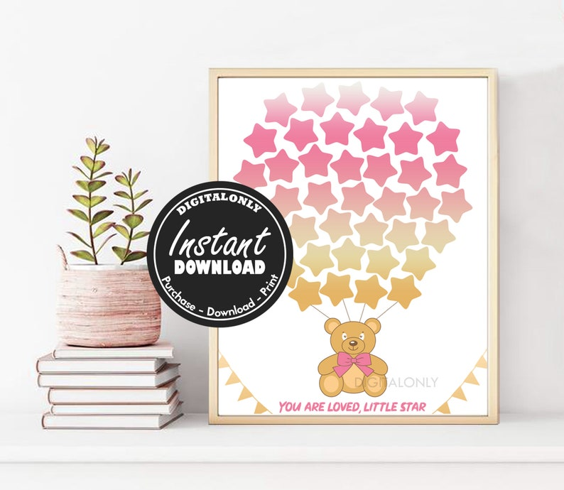 nursery Instant download printable pink and gold baby shower guest sign in 1st birthday guest book Teddy Bear Baby Shower Guest Book
