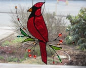 Stained Glass Bird, Sun Catcher, Red Cardinal, Beaded, Sitting on a Branch, Glass art, Mother 39 s Day Gift, Present, Made in Canada