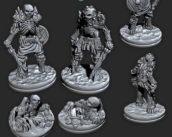 Icy Skeletons   28mm / 32mm Fantasy Miniature   Warhammer or D&D    Wilds of Wintertide by EC3D Hero's Hoard