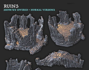 Stone Ruins Set   28mm Fantasy Terrain   Warhammer or D&D    Wilds of Wintertide by EC3D Hero's Hoard