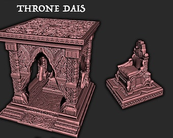 Throne Dais   32mm or 28mm Fantasy Terrain   Warhammer or D&D    Empire of Scorching Sands by EC3D Hero's Hoard