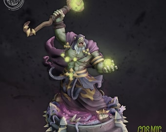 Borug Hellfire   28mm Fantasy Miniature   Warhammer or D&D    Cast N Play   Cosmic Horror Orc Wizard Warlock