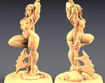 75mm Yagraz - Orc Beauty    Fantasy Pinup Miniature   Painting Display Piece    Artisan Guild   Pinup Assassin