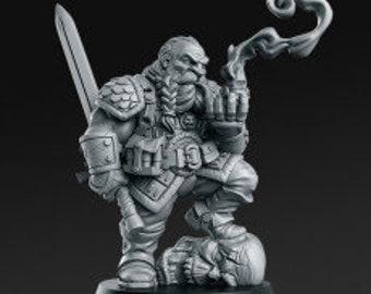 Garaldir - Dwarf Witcher   32mm+ Fantasy Miniature   Warhammer or D&D   RN Estudio