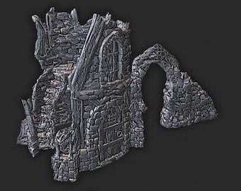 Ruined Tower   28mm Fantasy Terrain   Warhammer or D&D    Wilds of Wintertide by EC3D Hero's Hoard