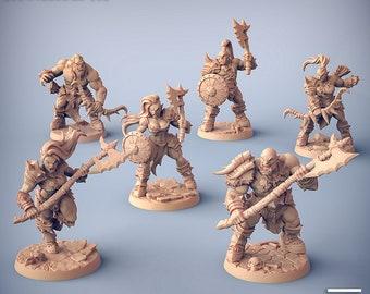 Modular Orc Barbarians    32mm or 28mm Fantasy Miniature   Warhammer or D&D    Artisan Guild   Orc Marauders