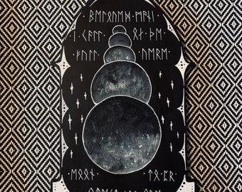 Moon and Runes - Hand-Painted Viking Wall Hanging Gothic Arch - One of a Kind