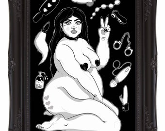 Toys Before Boys - A5 Gloss Art Print - Fat Sexy Nude with sex toys