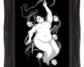 Bed of Bones - A4/A5 Art Print - Fat Nude Goddess of Death