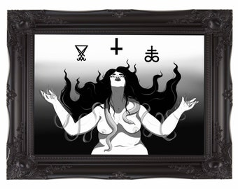 Idolatry - High Quality Art Print - Fat Nude Satanic Witch