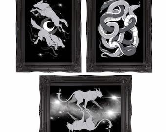 Set of 3 Viking Mythology Art Prints by Corpse Wax - A4/A5 high quality, silk finish, home decor art print