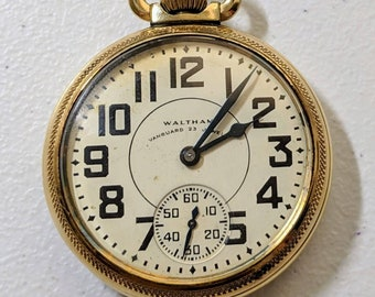 1948 Waltham Vanguard 16s 23j Open Face Railroad Grade Pocket Watch FREE SHIPPING