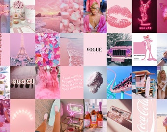 Pink Wall Collage Kit | 32 Prints | Pink Aesthetic Photo Wall Collage | College Dorm Decor | Teen Girl Gift |  VSCO Wall Collage | Trendy