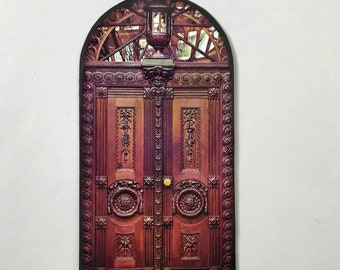 Miniature Carved Faux Wood Look Door for Doll and Fairy Houses Room Boxes and Dioramas