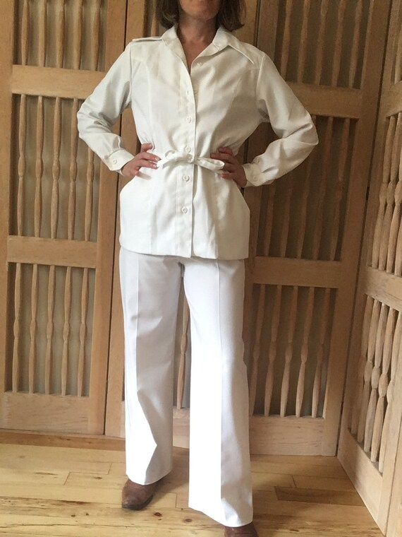 Pantsuit 70's White Two Piece (Small)