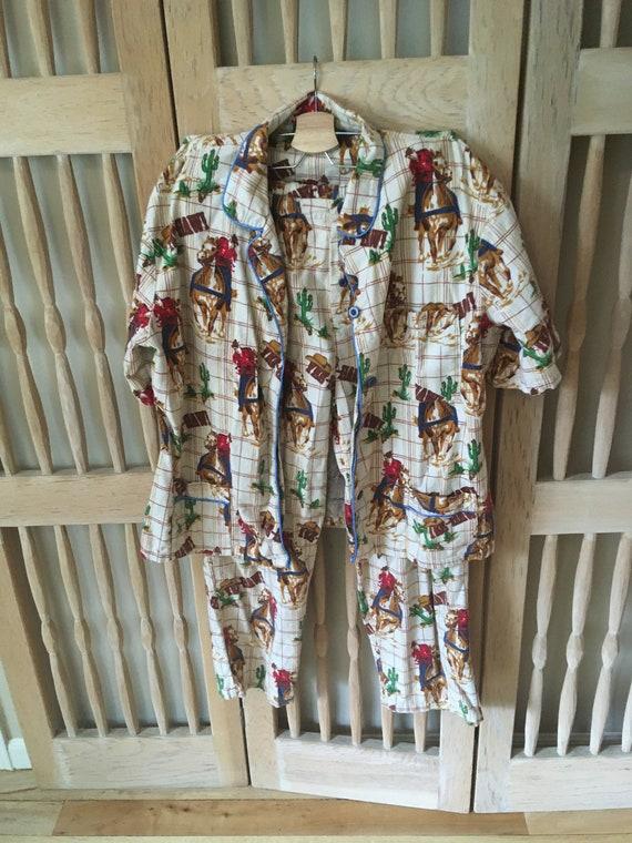 Western Print Short Sleeve Pajama Set (Large) - image 2