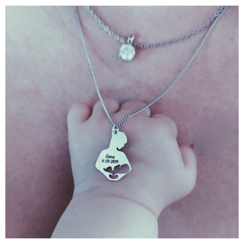 Birth Necklace, Best Friend Necklace Dainty Mothers day Gift Personalized Necklace Breastfeeding Gift