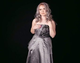Silver Strapless Gown