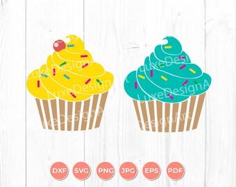 Cupcake SVG, Bakery SVG, Cricut File, Silhouette, DXF, Png, Eps, Digital Clipart, Cut Files
