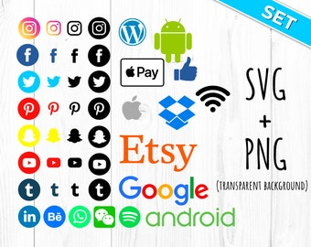 Social Media Icons & Logo SVG Files and PNG - 86 in total!