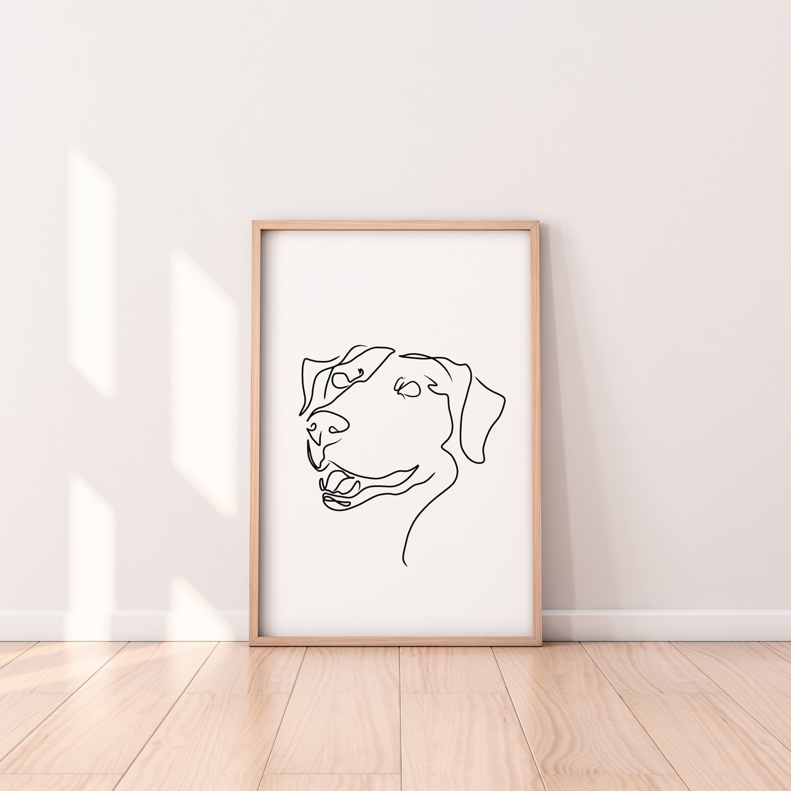 Minimalist style line art print with labrador dog