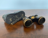 Antique Brass Leather Binoculars Chataux Paris Field Glasses, Antique Opera Glasses, Chataux Paris Binocular, Vintage Binoculars, 1900s