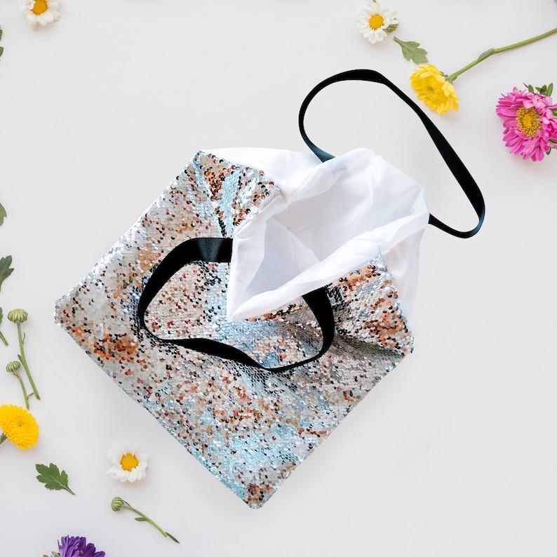 Unicorn and Balloon Black Handle Bookbag Happy Floating Unicorn Sequin HandBag Customizable Name on Mermaid Changing Sequin Tote bag