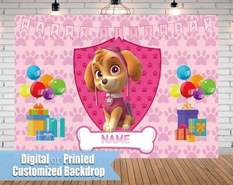 Paw Patrol Skye Party Custom Backdrop Background For Kids Girl Birthday Banner Personalized Printable Decorations