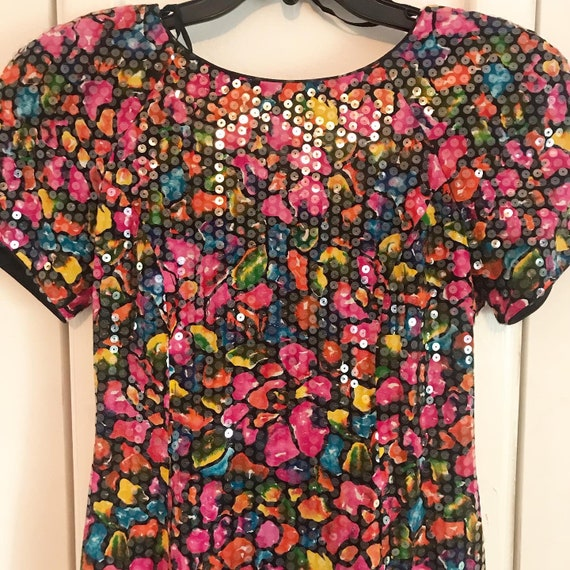 Vintage 90s Floral Sequin Party Dress
