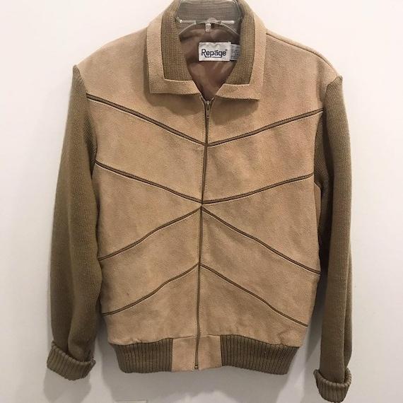 Vintage 80s Repáge Knit Suede Jacket