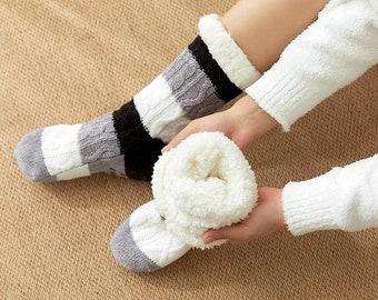 Feel Cozy Sherpa Fleece Lined Non-Slip Winter Socks Unisex